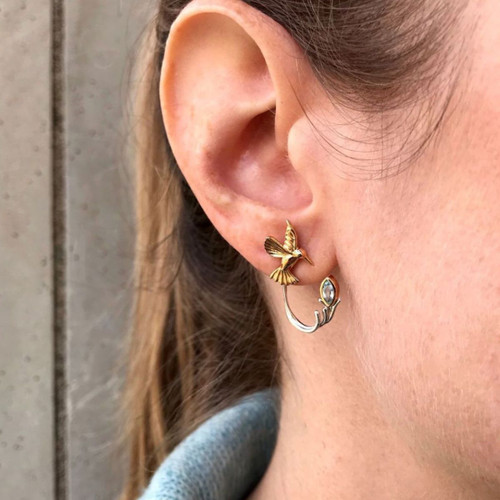 10k Yellow Hummingbird Stud with Sterling Silver +10k Blue Topaz Earring Jacket (3 piece)~By Keith Jack~PEX0070-BT
