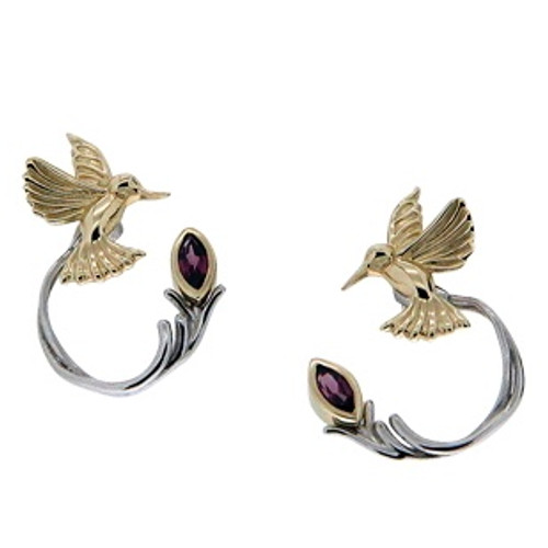 10k Yellow Hummingbird Stud with Sterling Silver +10k Rhodolite Earring Jacket (3 piece)~By Keith Jack~PEX0070-RHO