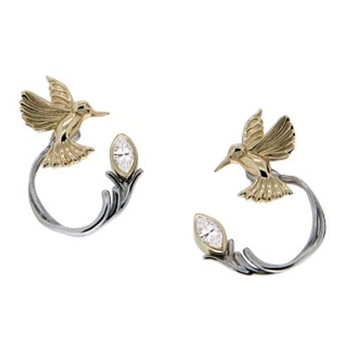 10k Yellow Hummingbird Stud with Sterling Silver +10k White Topaz Earring Jacket (3 piece)~By Keith Jack~PEX0070-WT
