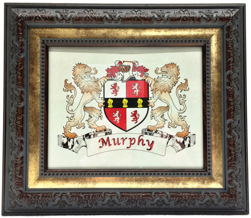 Antique 2-Tone - Irish Coat-of-Arms Frame Family Name Crest