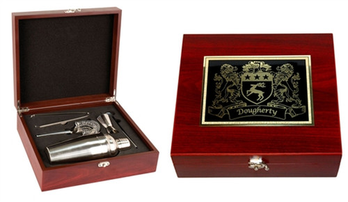 Irish Coat of Arms Martini/Cocktail Set | In Presentation Wood Box with Rosewood Finish,