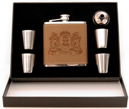Irish Coat of Arms 5-Piece Leather Flask Box Set