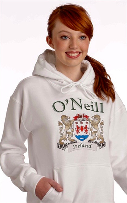 Irish Coat of Arms Hooded Sweatshirt in White