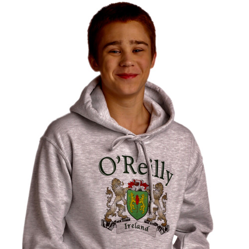Irish Coat of Arms Hooded Sweatshirt in Ash