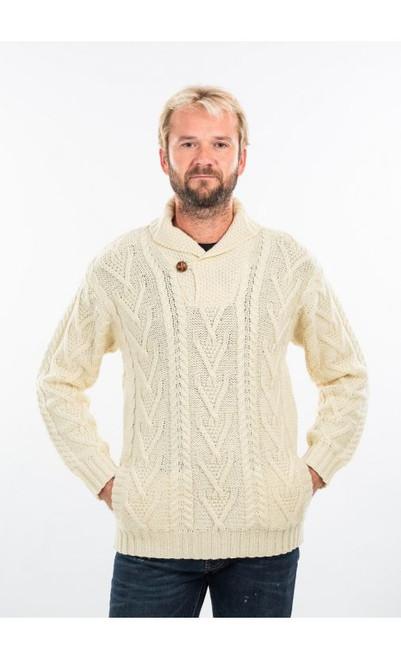Men's Shawl Collar Aran Sweater in Natural
