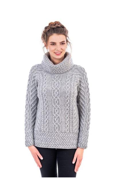 Ladies Fisherman Wool Funnel Cowl Neck Aran Irish Sweater in Grey