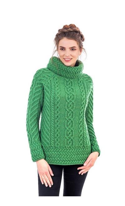 Ladies Fisherman Wool Funnel Cowl Neck Aran Irish Sweater in Green