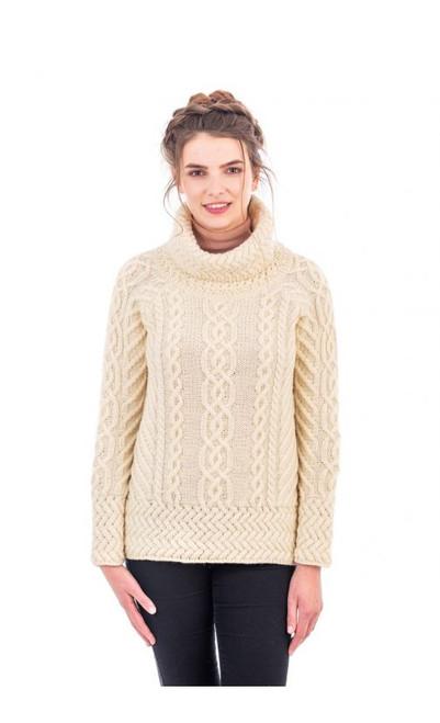 Ladies Fisherman Wool Funnel Cowl Neck Aran Irish Sweater in Natural
