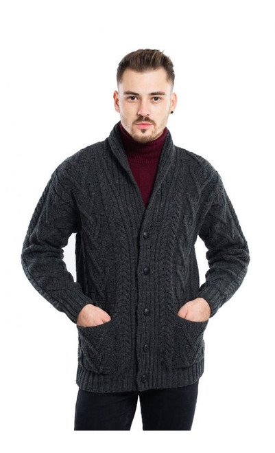 Mens Aran Cable Shawl-Collar Cardigan in Charcoal