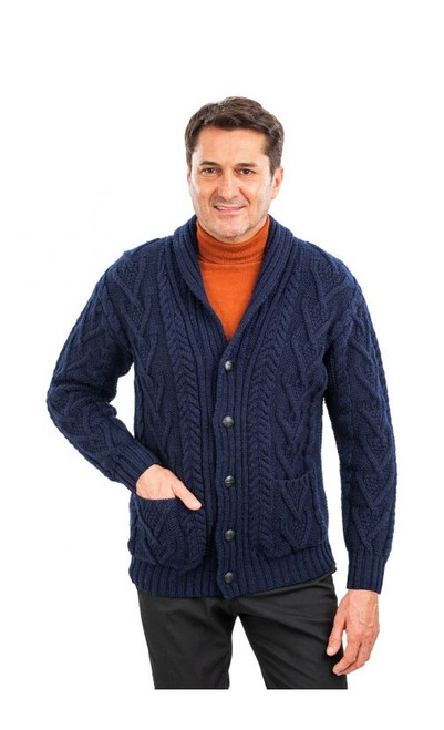 Mens Aran Cable Shawl-Collar Cardigan in Navy