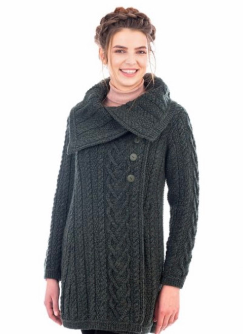 Chunky Collar Buttoned Irish Aran Coat In Green