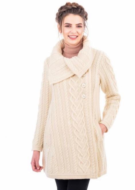 Classic Aran Cable Sweater Coat In Natural