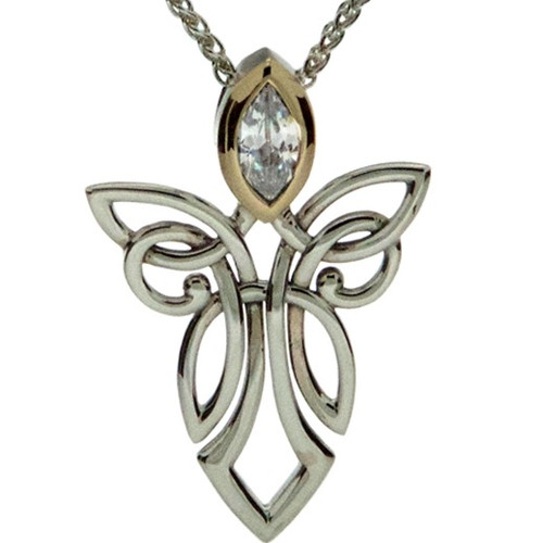 S/sil + 10k CZ Guardian Angel Pendant By Keith Jack