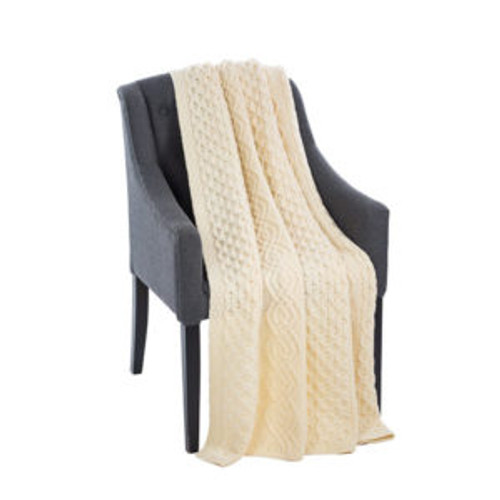 Honeycomb Merino Wool Aran Throw In Natural