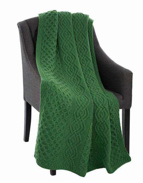 Honeycomb Merino Wool Aran Throw in Green