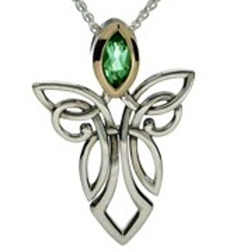 S/sil + 10k Peridot Guardian Angel Pendant By Keith Jack