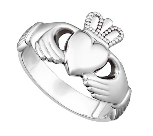 Sterling Silver Puffed Heart Gents Extra Heavy Claddagh Ring S2272 Irish Made by Solvar Dublin
