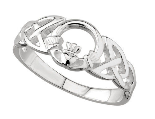 Sterling Silver Celtic Knot Ring With Claddagh Front S2429 Irish Made by Solvar Dublin