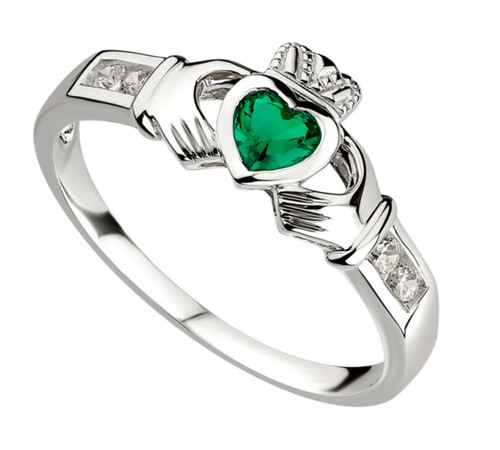 Sterling Silver Claddagh Shoulders Ring With Synthetic Emerald & Cubic Zirconia S2594 Irish Made by Solvar Dublin