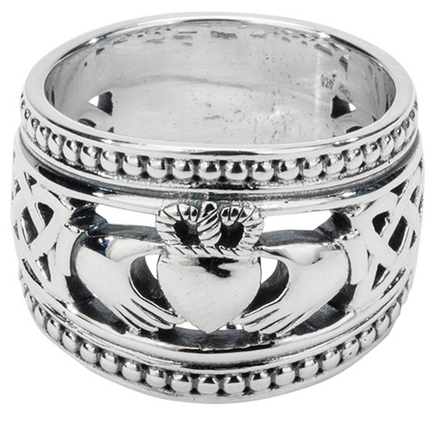 "S/sil Oxidized ""Shield"" Claddagh with Beaded rails (Tapered) Sizes 6-15 By Keith Jack"