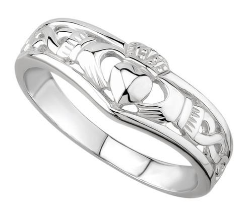 Sterling Silver Claddagh Wishbone Ring S2595 Irish Made by Solvar Dublin