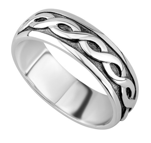 Sterling Silver Mens Celtic Band Wide Ring S2649
