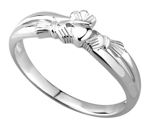 Sterling Silver Claddagh Kiss Ring S2750 Irish Made by Solvar Dublin