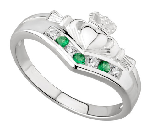 Sterling Silver Claddagh Wishbone Ring with Emerald & Cubic Zirconia S2751 Irish Made by Solvar Dublin