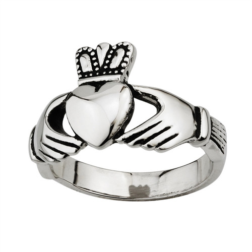 Steel Gents Claddagh Ring Size 13 S2950 Irish Made by Solvar Dublin