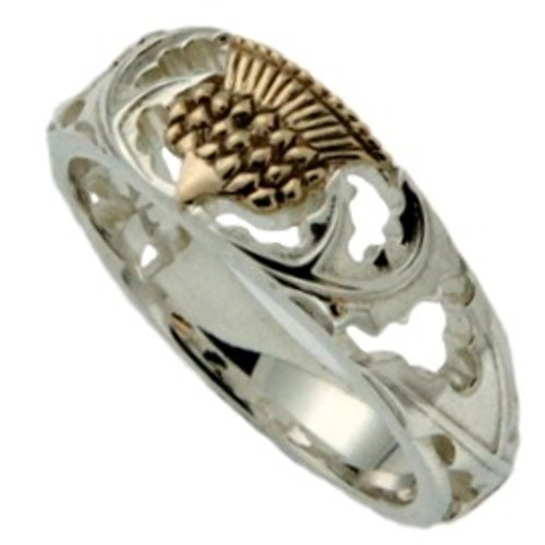 Sterling Silver and10k Gold Scottish Thistle Ring   Sizes 4-13 PRX6472 KEITH JACK