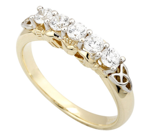 10k Gold Claddagh Eternity Ring with Cubic Zirconia Size 7 S2982
