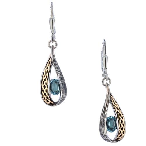 S/sil + 10k Blue Topaz Celtic Weave Leverback Earrings By Keith Jack