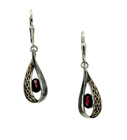 S/sil + 10k Rhodolite Garnet Celtic Weave Leverback Earrings By Keith Jack