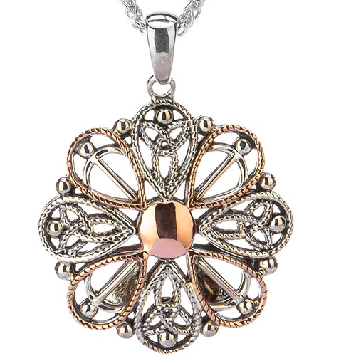S/sil + 10k Rose Gold Ashen Rose Small Pendant By Keith Jack PPX0619-S