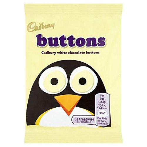 Cadbury White Buttons Chocolate 33g Bag