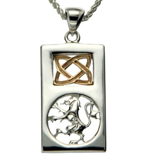 S/sil + 10k Lion Rampant Rectangle Small Pendant By Keith Jack