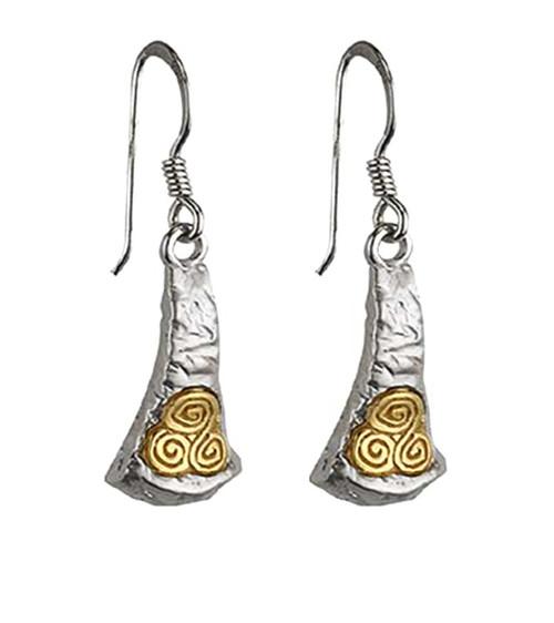Sterling Silver Newgrange Drop Earrings S33018 Irish Made by Solvar Dublin