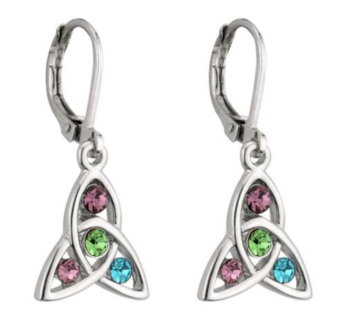 Rhodium Plated Celtic Trinity Drop Earrings With Stone Set S33105 Irish Made by Solvar Dublin