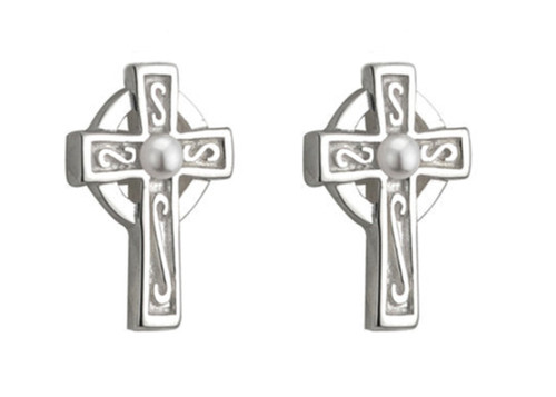 KIDS RHODIUM PLATED PEARL CROSS STUD EARRINGS