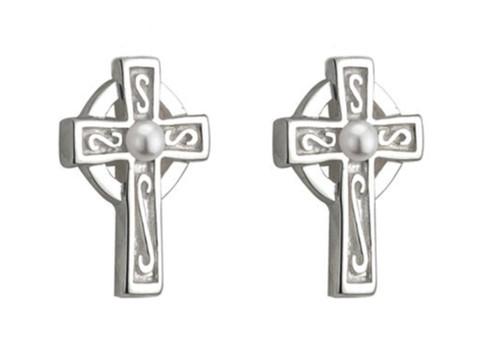 Kids Rhodium Plated Pearl Cross Stud Earrings S33315