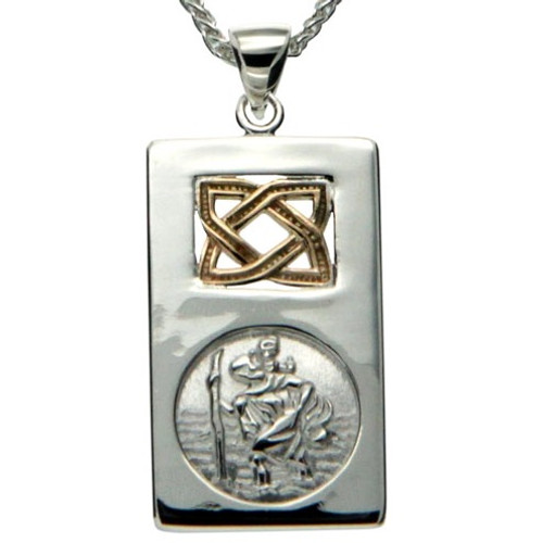 S/sil + 10k St. Christopher Small Pendant By Keith Jack