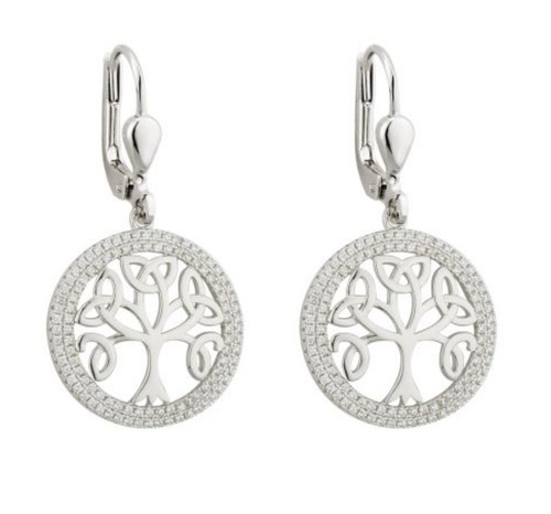 Sterling Silver Tree o'Life Drop Earrings with Cubic Zirconias S33697