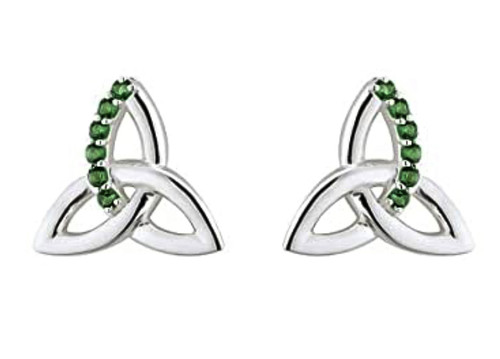Sterling Silver Trinity Stud Earrings With Green Crystal S33765 Irish Made by Solvar Dublin