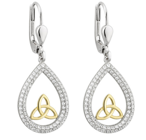Sterling Silver & Gold Plate Tear Drop Trinity Knot Earrings S33813