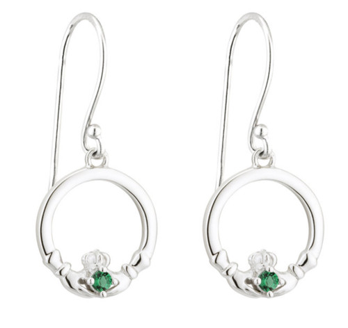 Sterling Silver & Green Crystal Claddagh Drop Earrings S33849