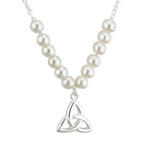 Kids Rhodium Plated Pearl Trinity Knot Communion Necklet S45073