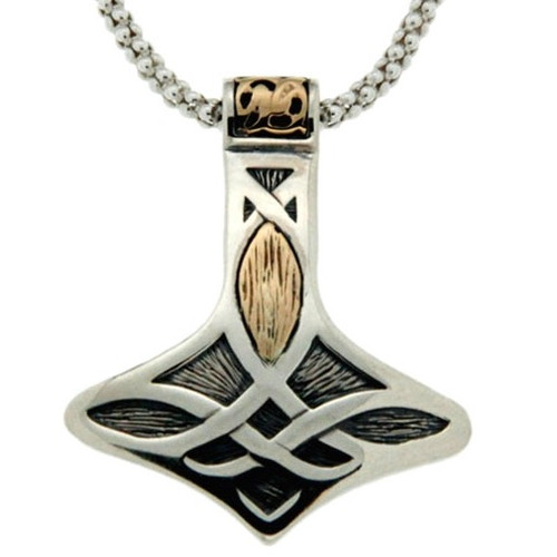 S/sil Oxidized + 10k Thor's Hammer Small Pendant  By Keith Jack