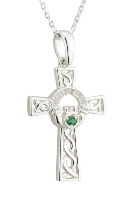 Sterling Silver Crystal Claddagh Cross Pendant S45529