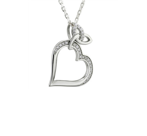 Sterling Silver Trinity Knot Heart Pendant S46014