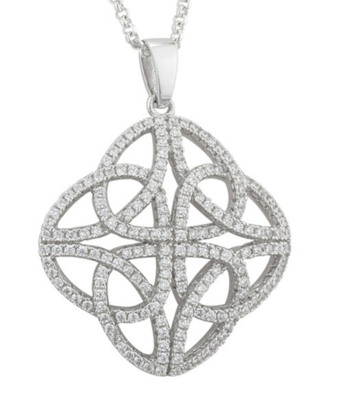 Sterling Silver Celtic Knot Pendant with Cubic Zirconia S46031